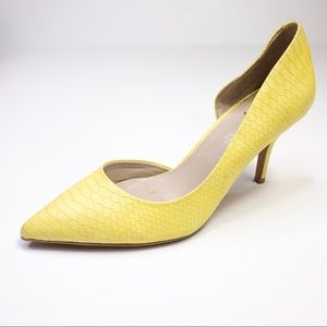 Aldo Leather Pale Yellow Faux Snakeskin Heels